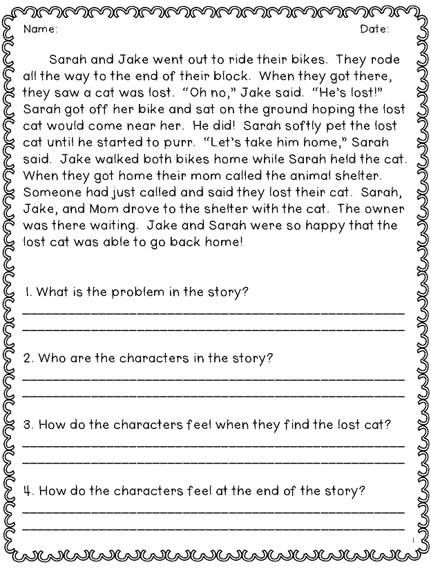 Story Comprehension Worksheet