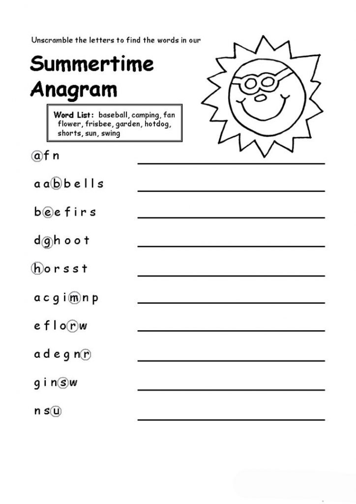 Summer Anagram Worksheet