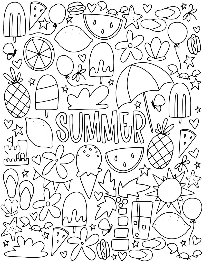 Summer Elements Coloring Page