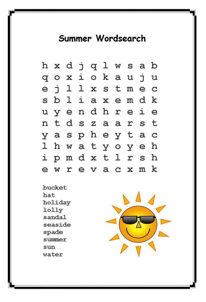 Summer Word Search Printables