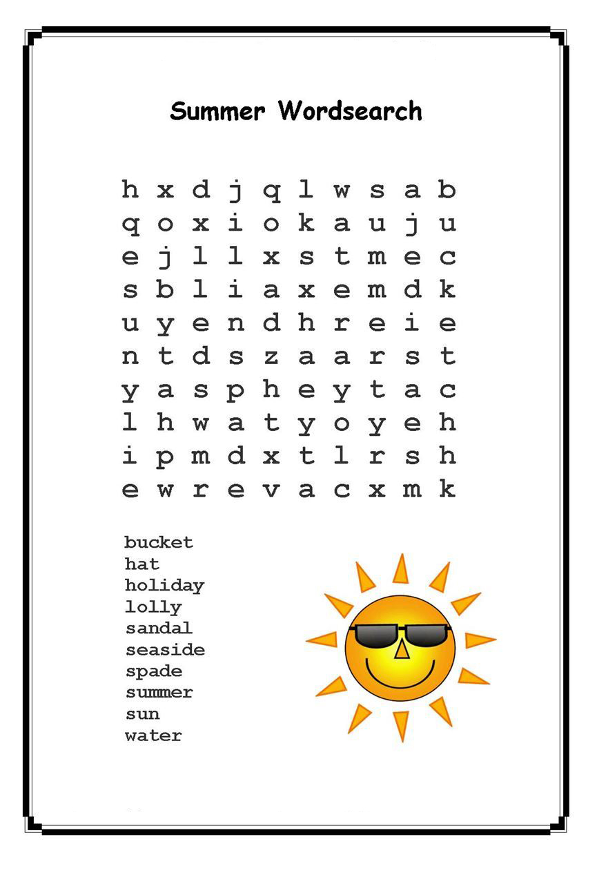 graphic about Summer Word Search Printable called Summer months Phrase Seem Puzzles - Least difficult Coloring Web pages For Young children