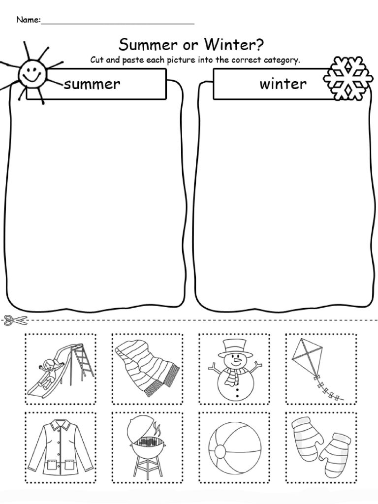 Summer or Winter Worksheet