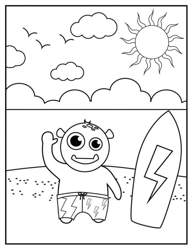 Surfing in June Coloring Page