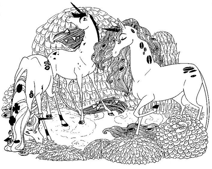 Unicorns Mia and Me Coloring Pages