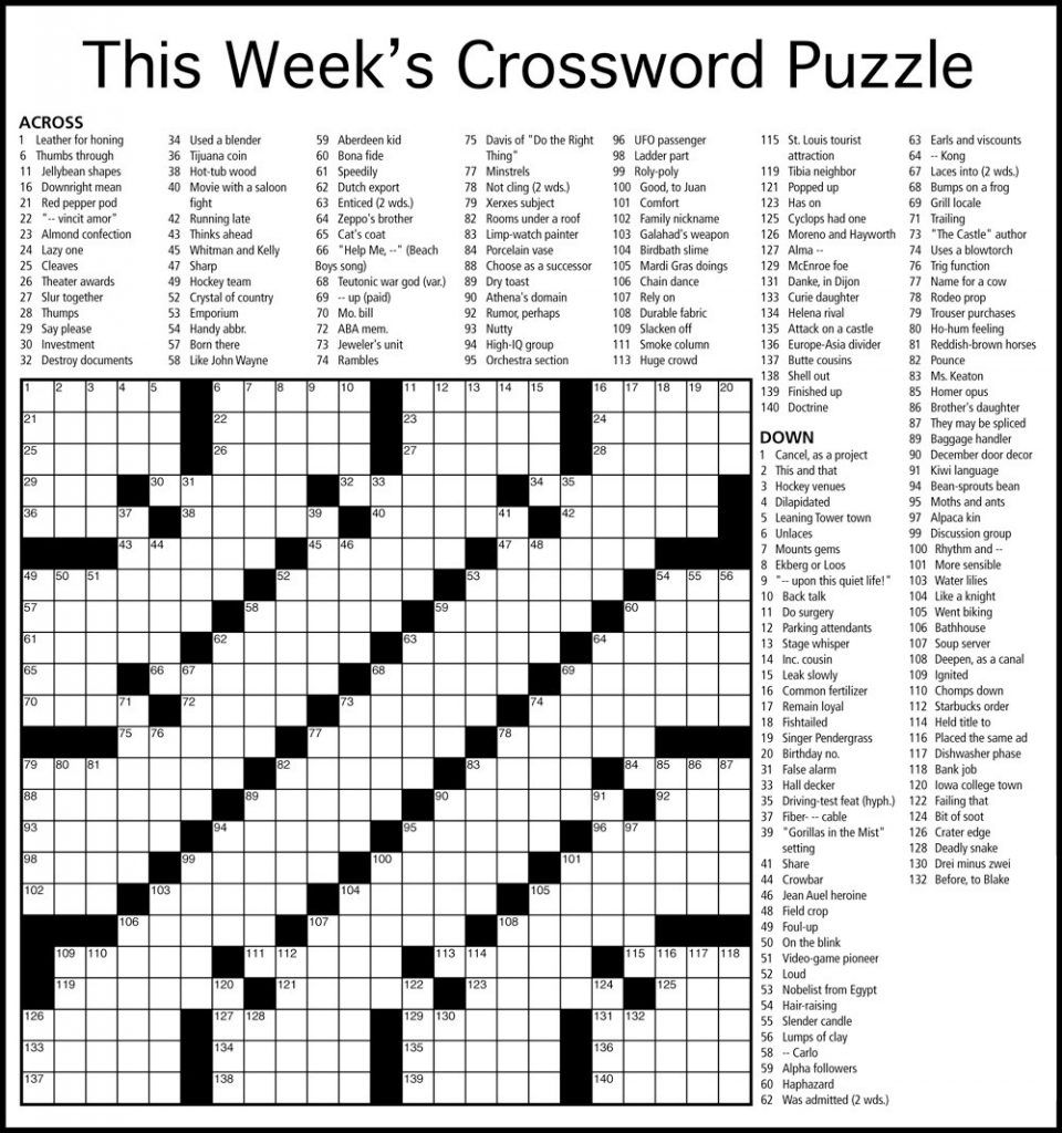 Weekly Crossword Puzzle
