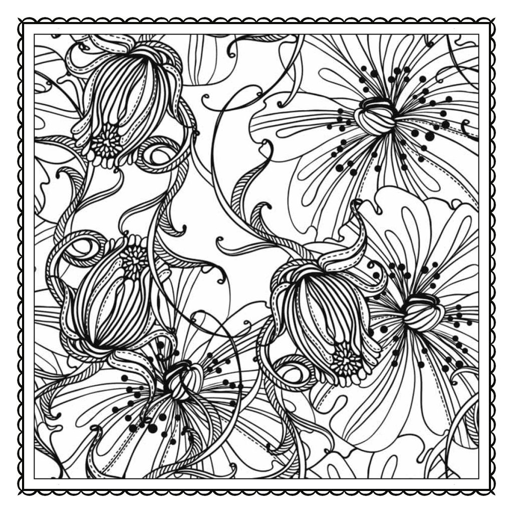 Wispy Floral Coloring Pages For Adults