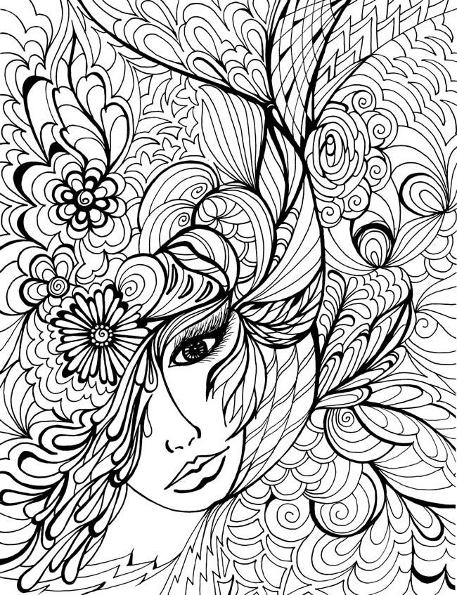 Woman in Floral Coloring Pages For Adults