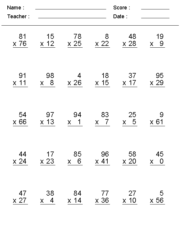 4th Grade Multiplication Sheet