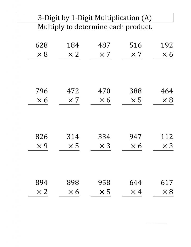 4th Grade Multiplication Worksheet - 3x1 digits