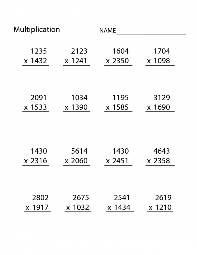 4th Grade Multiplication Worksheet