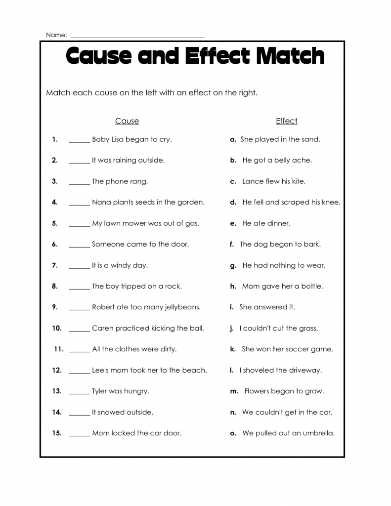 4th Grade Reading Cause and Effect