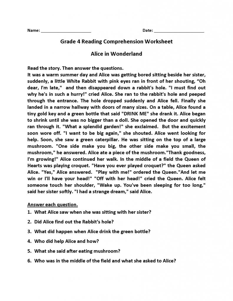 4th Grade Reading Comprehension - Alice in Wonderland