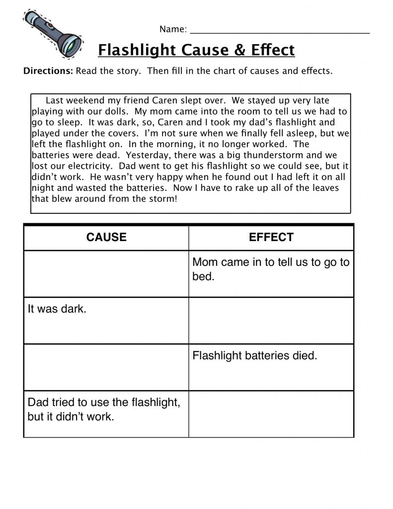 4th Grade Reading Comprehension - Cause and Effect