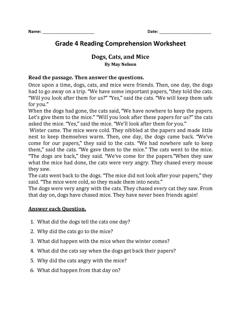 4th Grade Reading Comprehension - Dogs Cats Mice