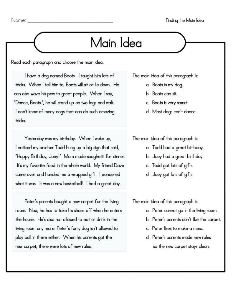 4th Grade Reading Comprehension Main Idea