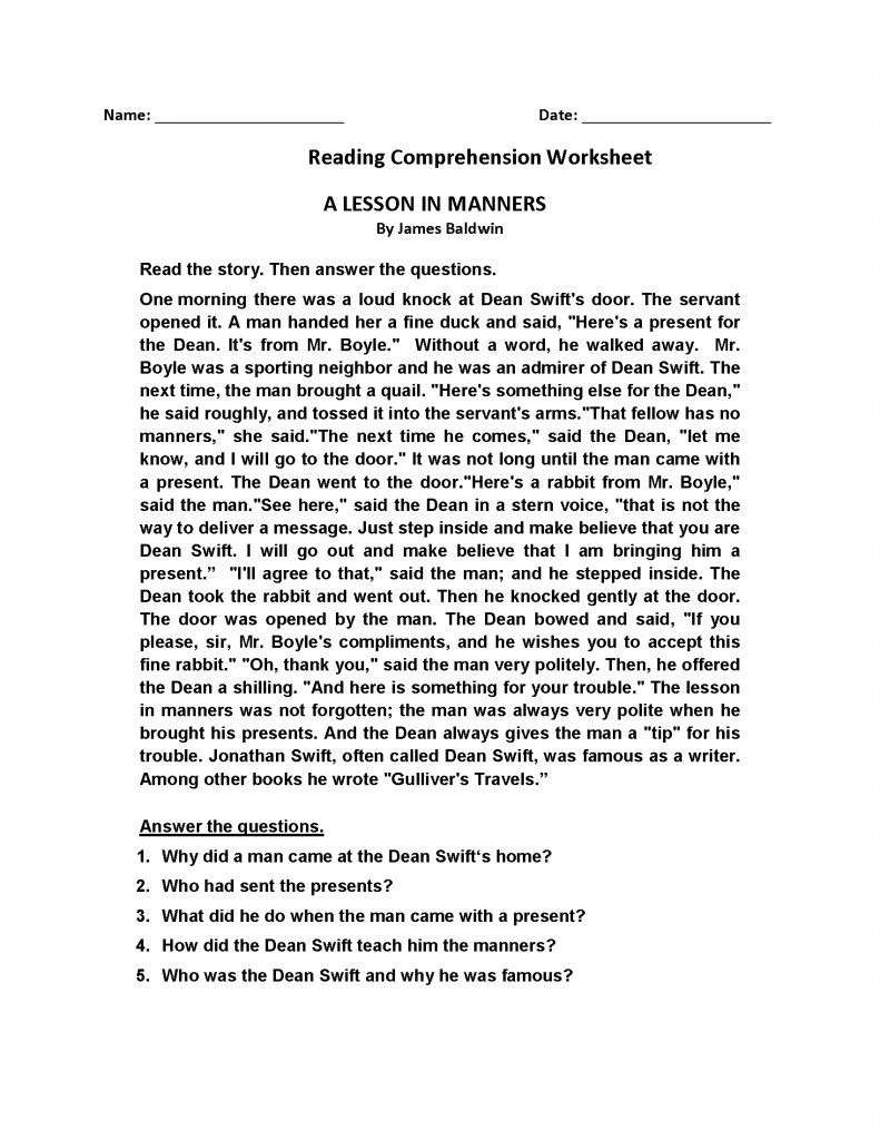 4th Grade Reading Comprehension - Manners