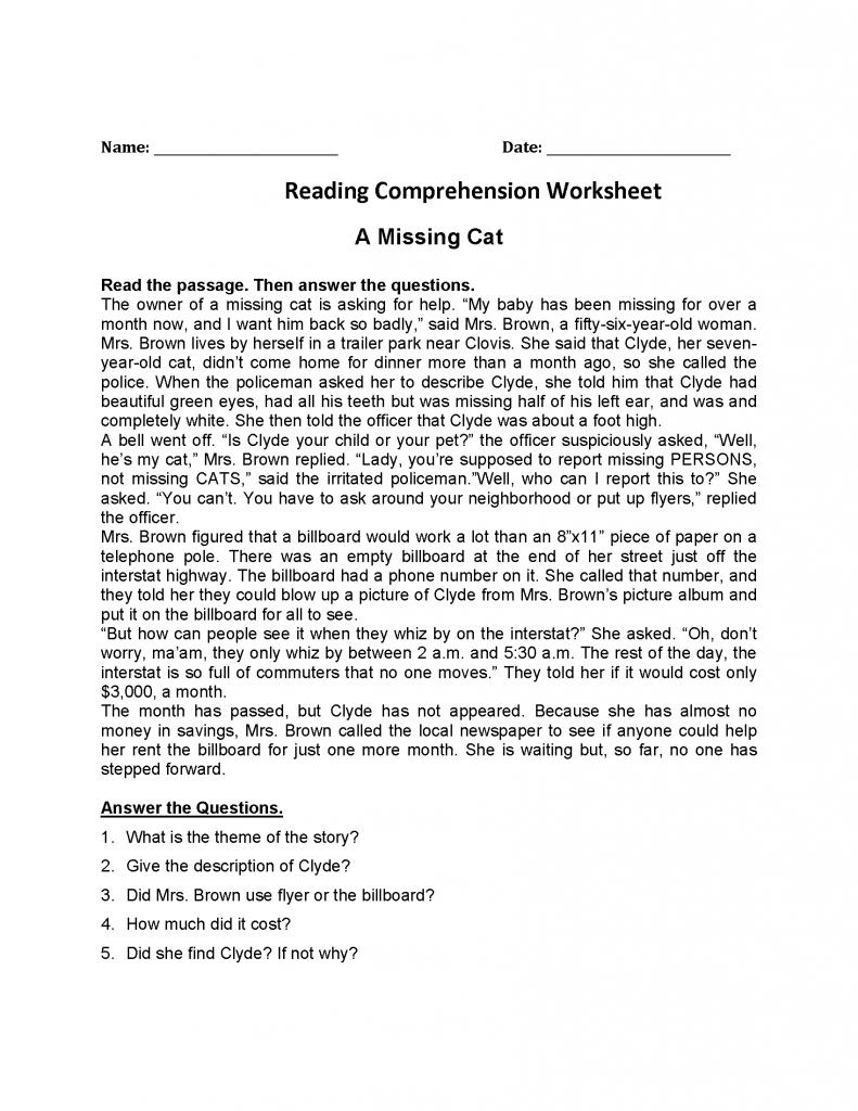 4th Grade Reading Comprehension - Missing Cat