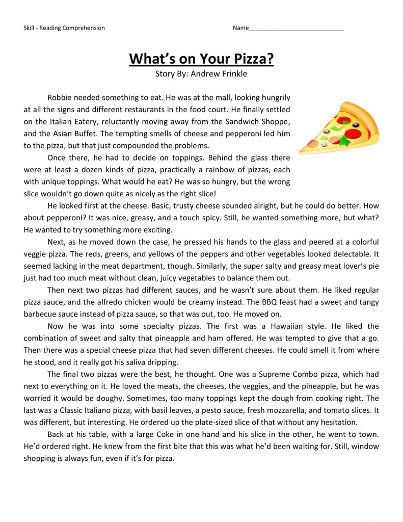 4th Grade Reading Comprehension - Pizza