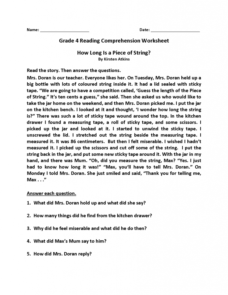 4th Grade Reading Comprehension Story