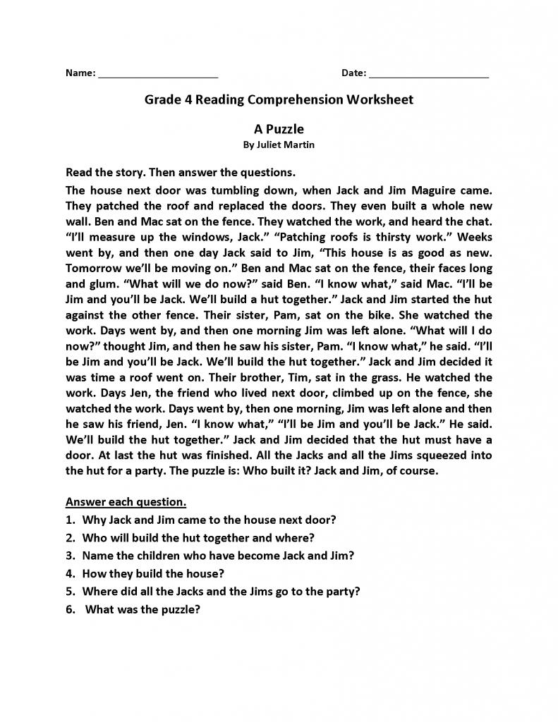 4th Grade Reading Comprehension Worksheet