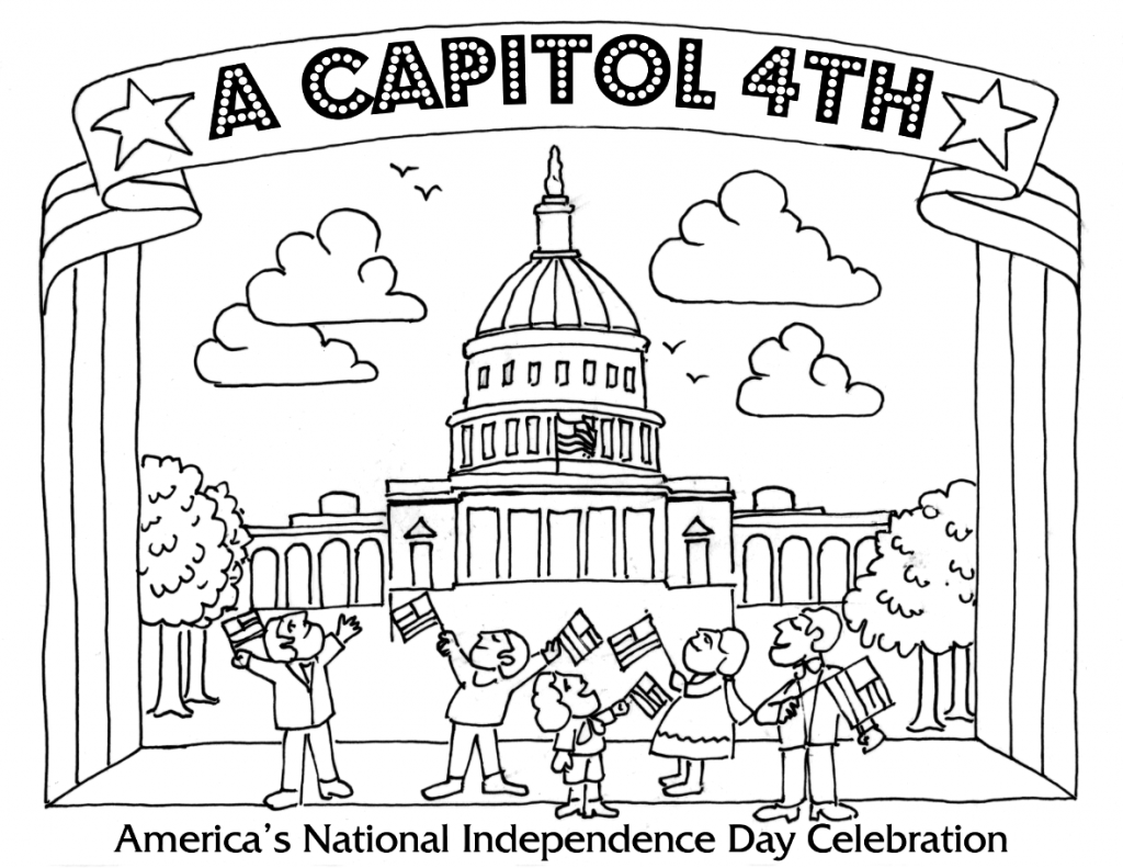 4th of July Capitol Coloring Page