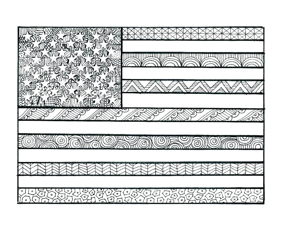 American Flag Pattern Coloring Page