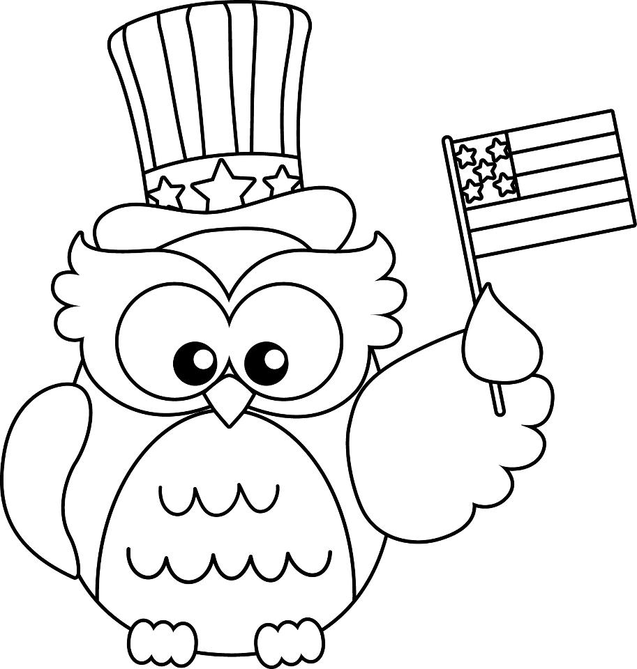 American Owl Flag Day Coloring Page