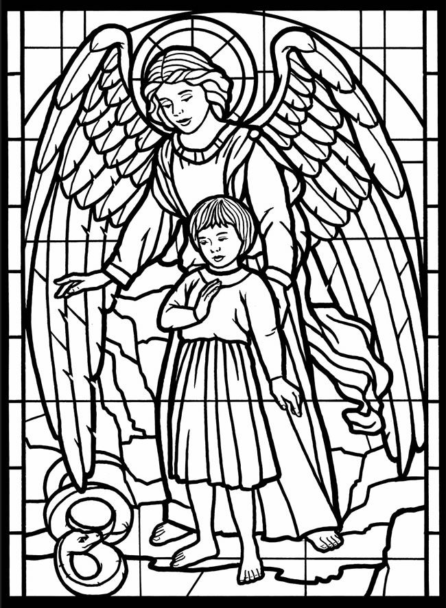 Angel Stained Glass Coloring For Adults