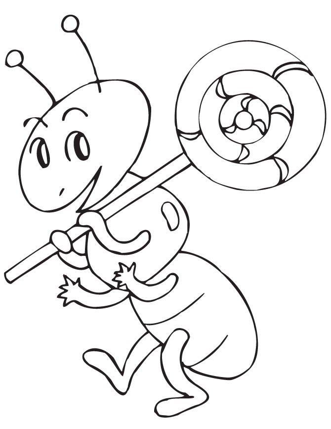 Ant with Lollipop Coloring Pages