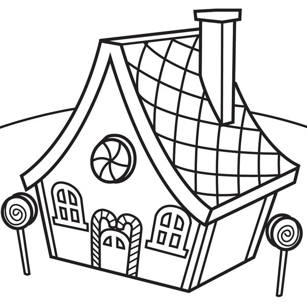 Candy House Lollipop Coloring Page