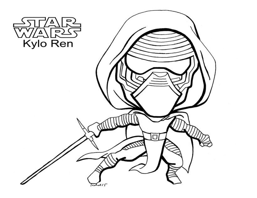 Chibi Kylo Ren Coloring Pages