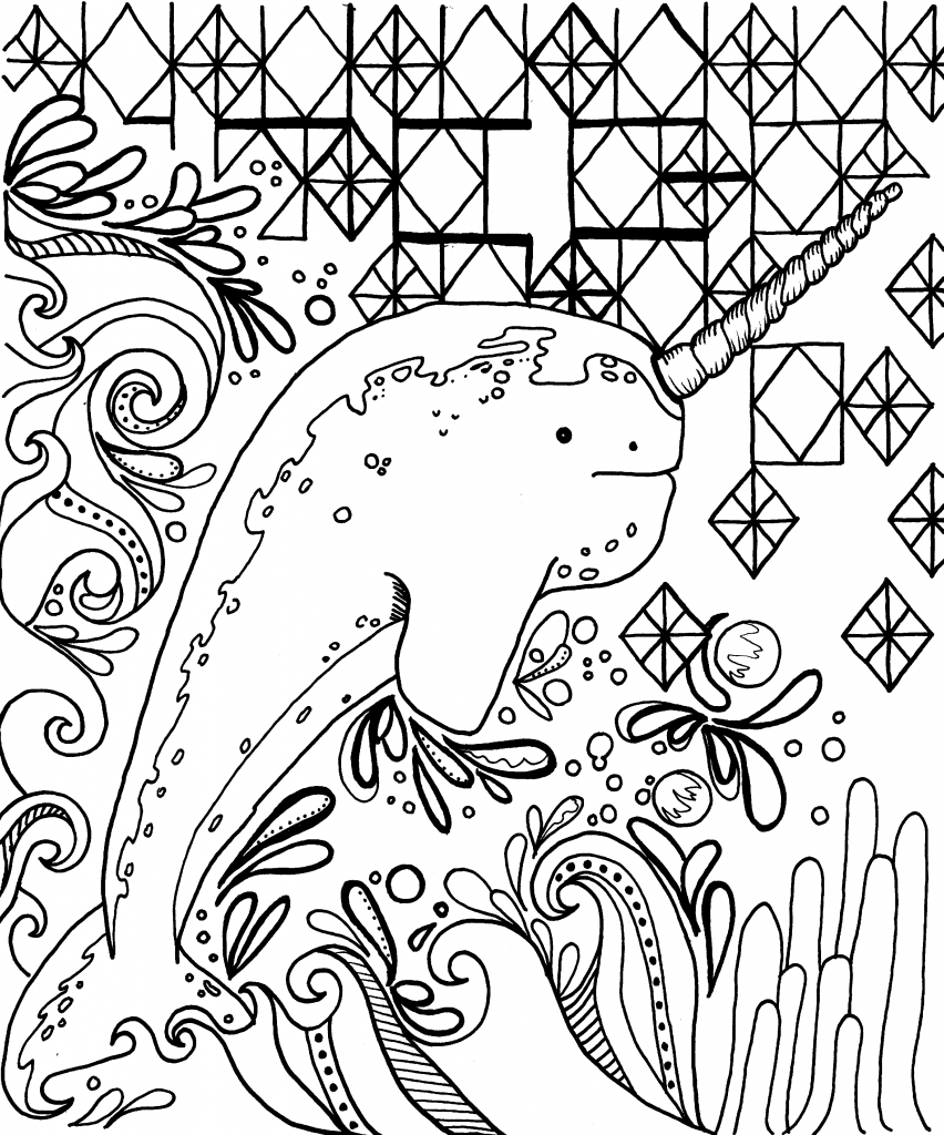 Cool Narwhal Coloring Page