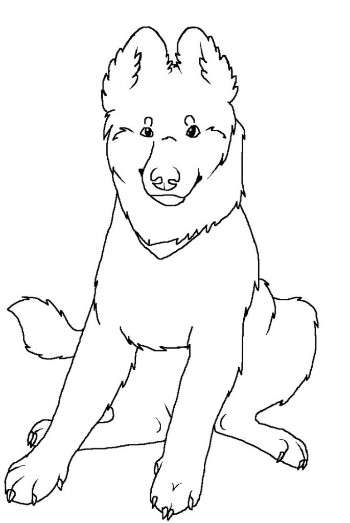 German Shepherd Puppy Coloring Page