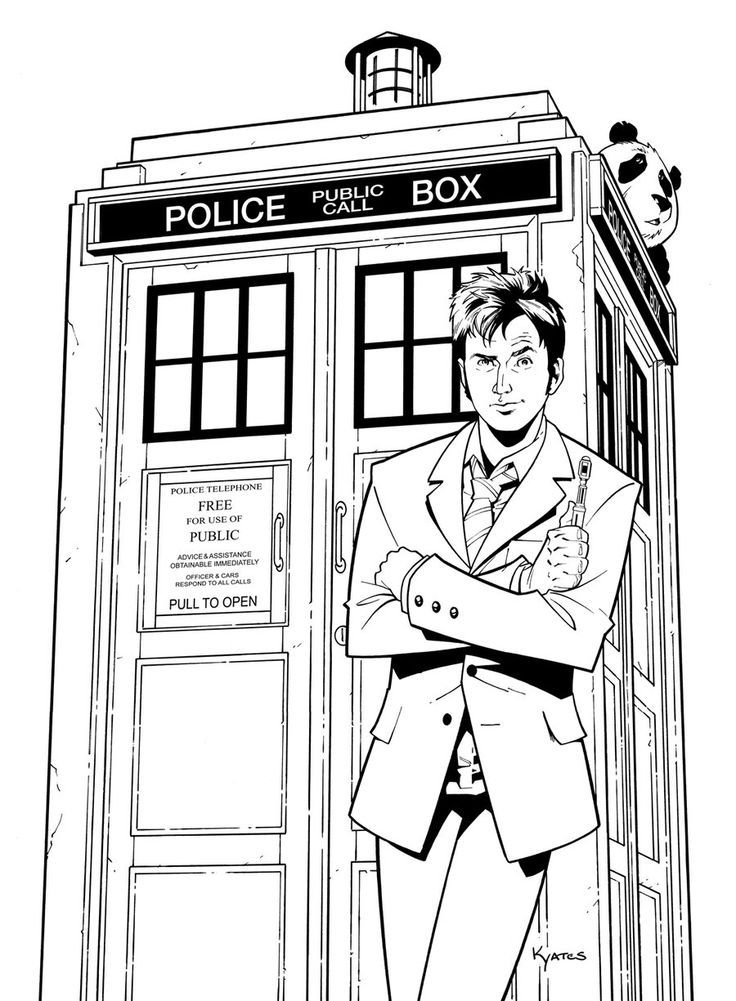 Dr Who TARDIS Coloring Page