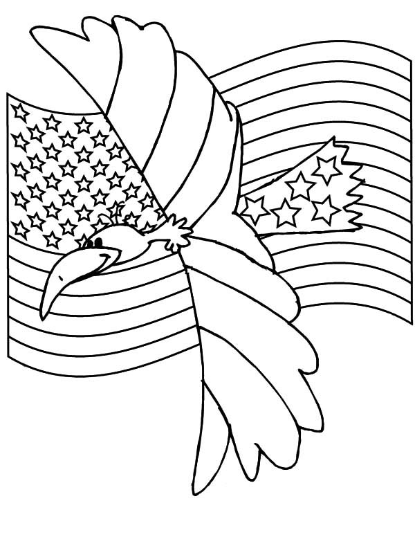 Eagle Flag Day Coloring Page
