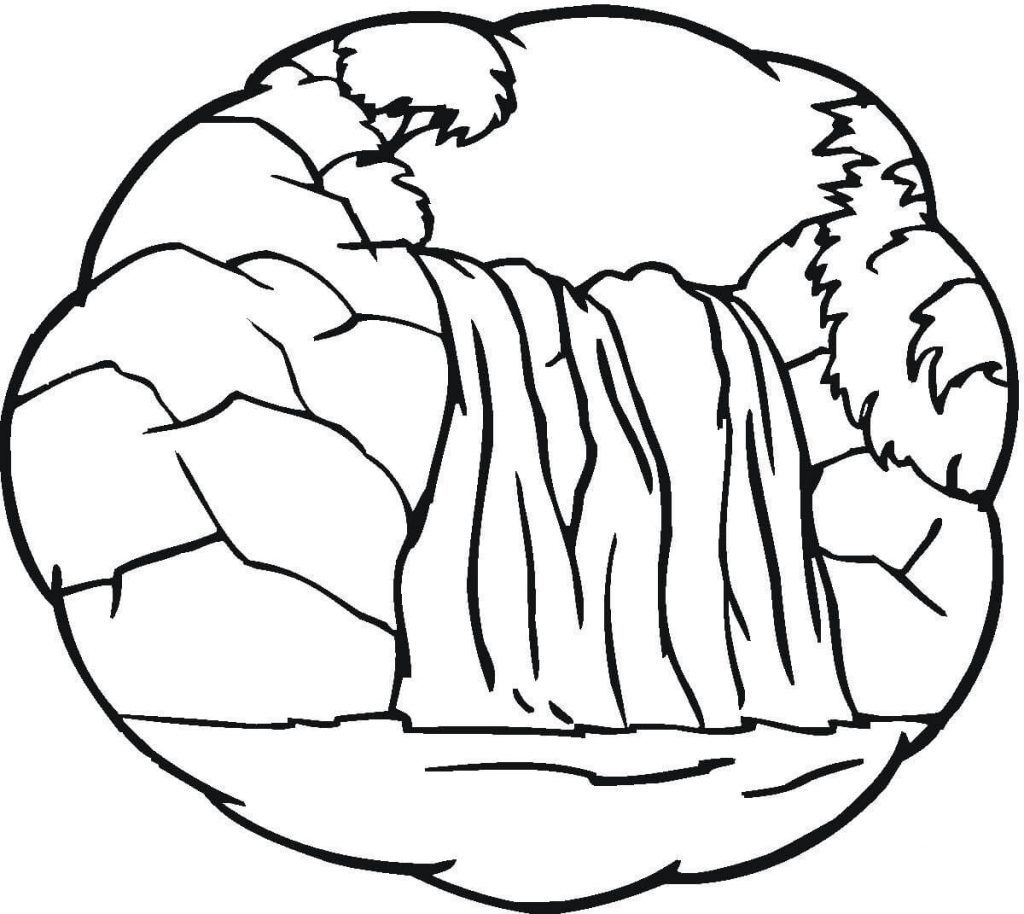 Easy Waterfall Coloring Pages