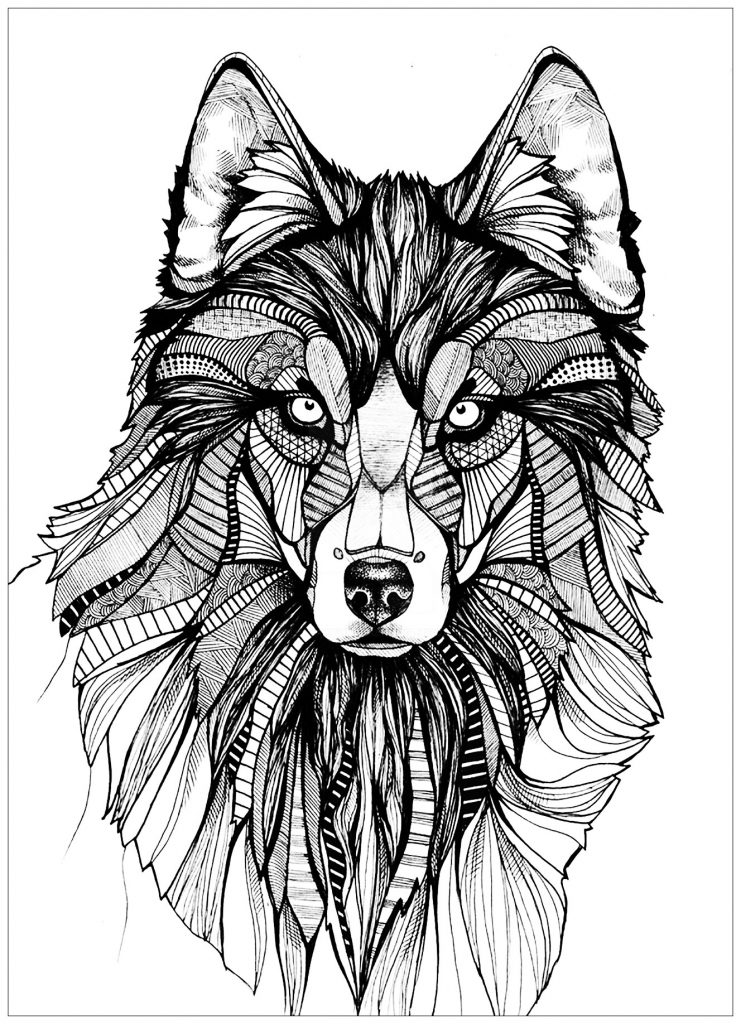 Elegant Wolf Coloring Pages for Adults