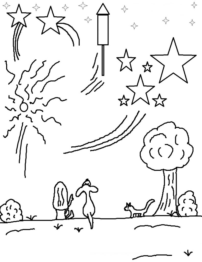 Free Printable Fireworks in July Coloring Page