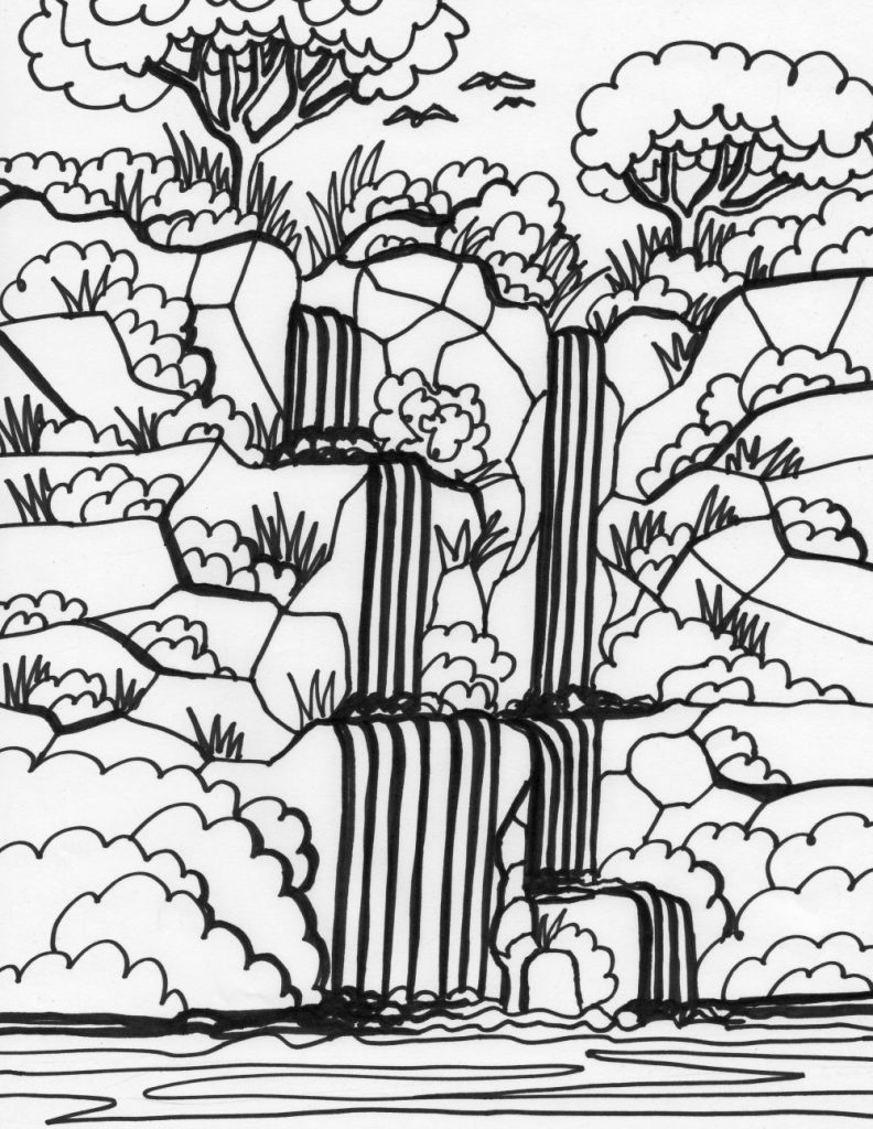 Free Waterfall Coloring Pages