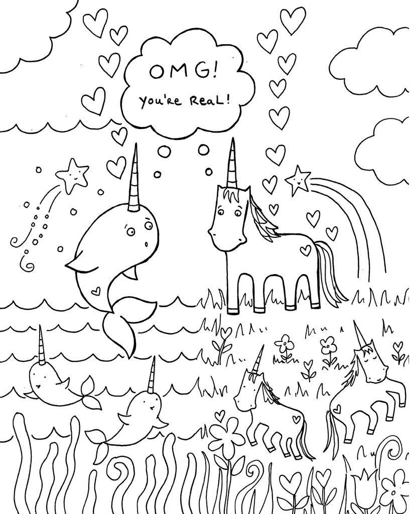 Funny Narwhal Coloring Page