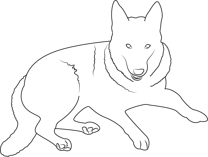 German Shepherd Line Drawing Coloring Page