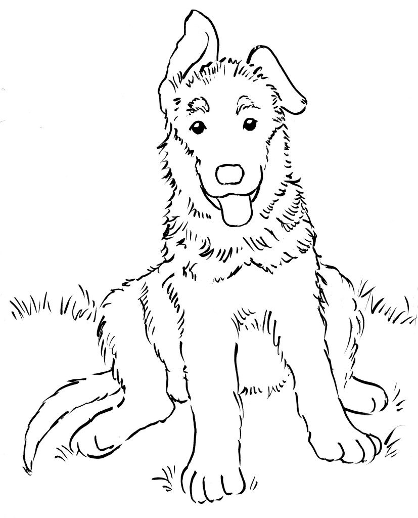 German Shepherd Puppy Coloring Pages