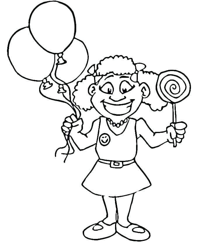 Girl with Balloons and Lollipop Coloring Page