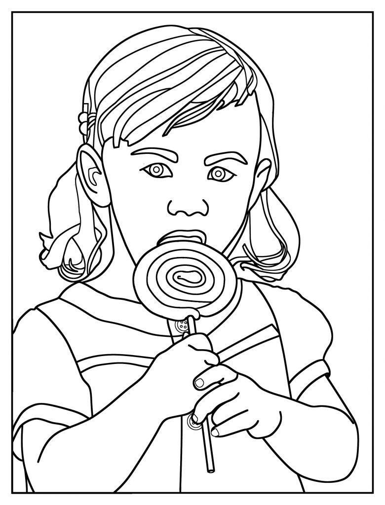 Girl with Lollipop Coloring Page