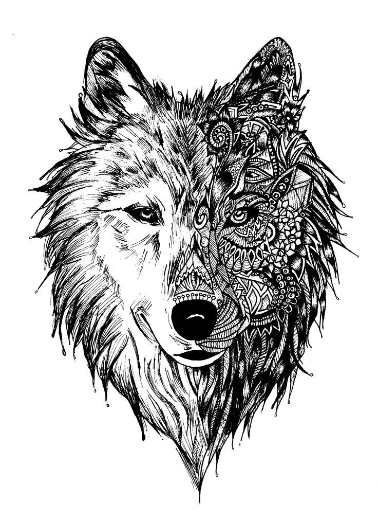 Half Zen Wolf Coloring Page