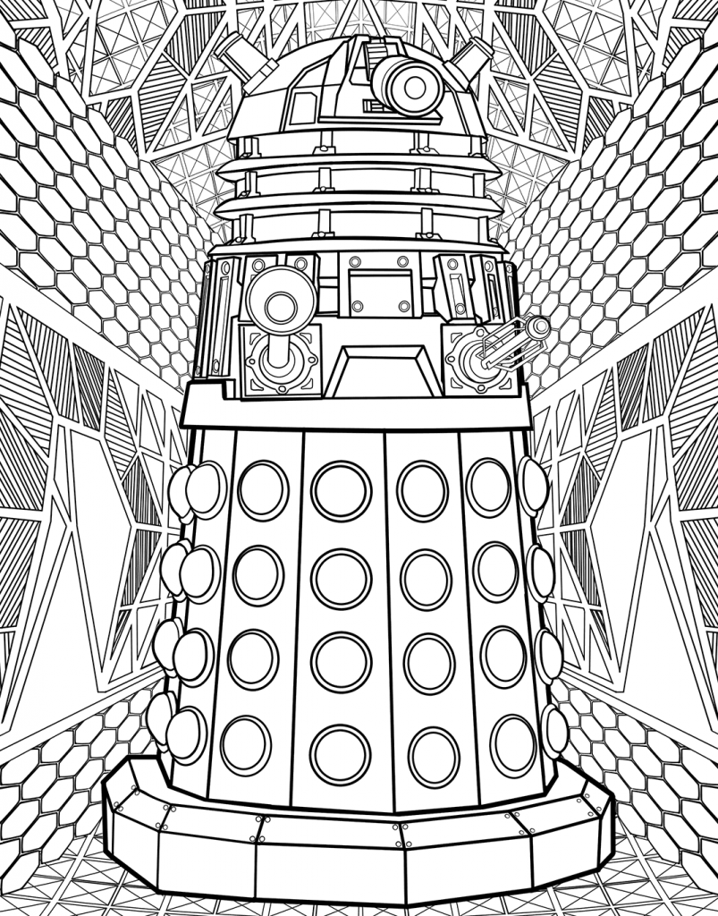 Hard Doctor Who Dalek Coloring Page