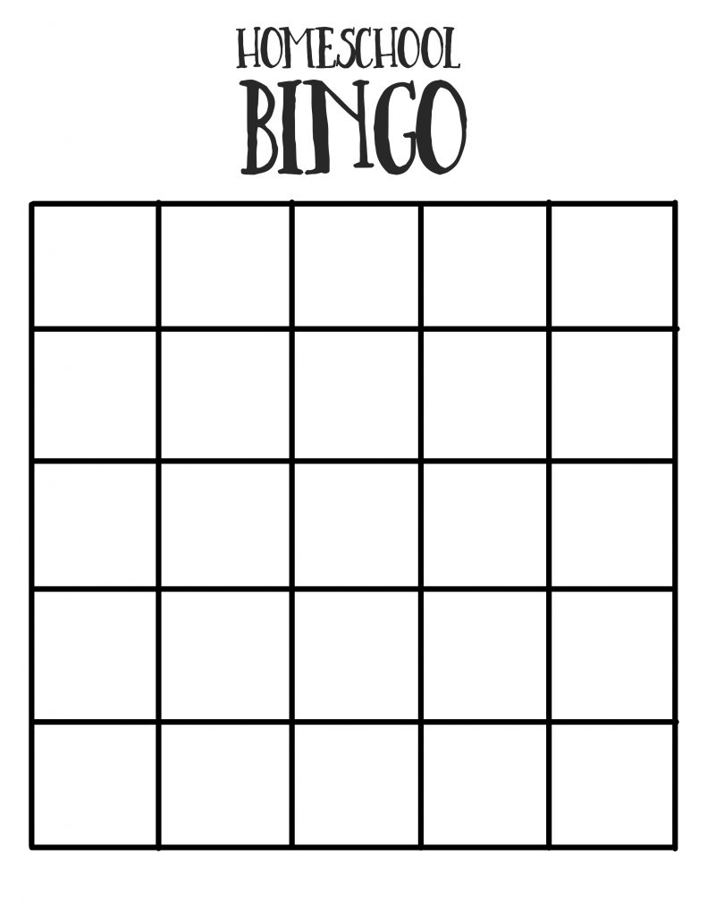 Homeschool Bingo Printable Sheet
