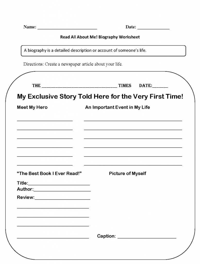 Homeschool Biography Worksheet