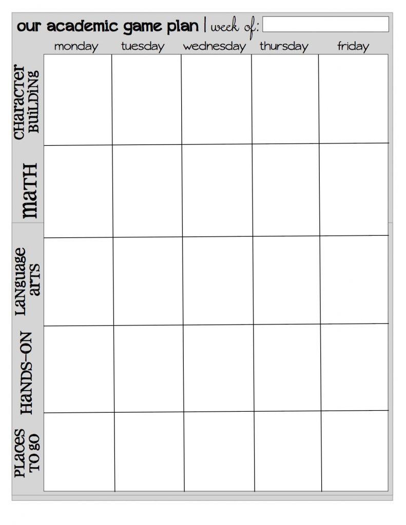 Homeschool Printable Schedule