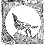 Howling Wolf Art for Adult Coloring